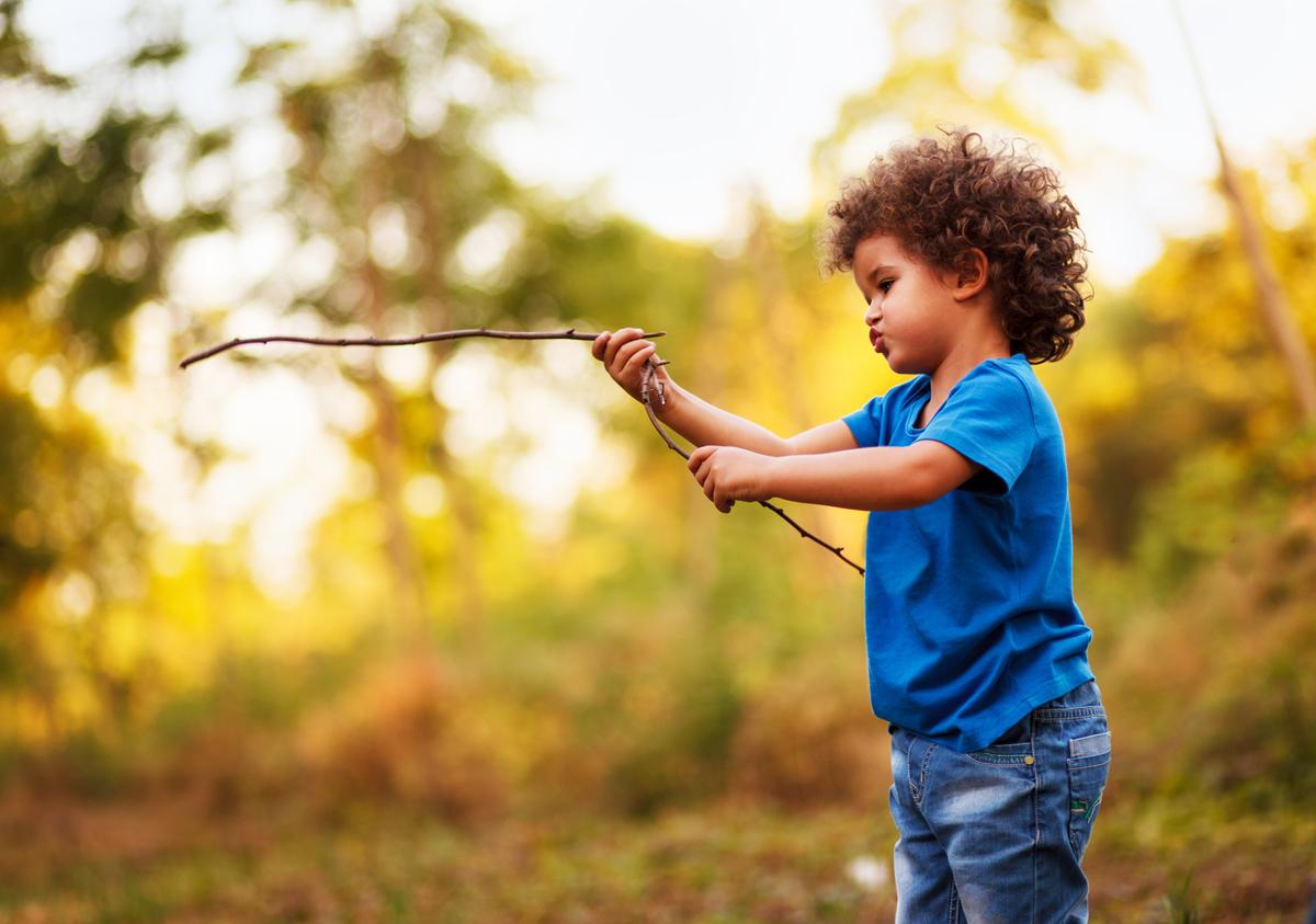 Boy having fun in nature
